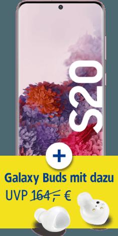 Samsung Galaxy S20 mit Galaxy Buds+ bei 1&1