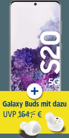 Samsung Galaxy S20 5G mit Galaxy Buds+ bei 1&1