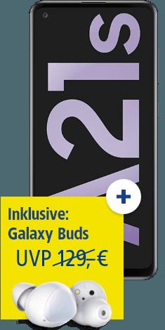 Samsung Galaxy A21s mit Galaxy Buds bei 1&1