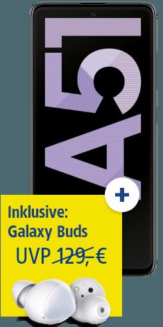 Samsung Galaxy A51 mit Galaxy Buds bei 1&1