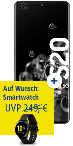 Samsung Galaxy S20 Ultra 5G mit Watch Active 2 bei 1&1